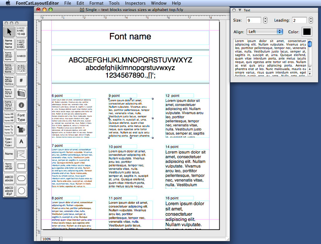 FontCat LayoutEditor with open layout